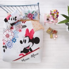 Lenjerie de pat Disney Minnie&Mickey watercolor TAC (Bumbac Ranforce)